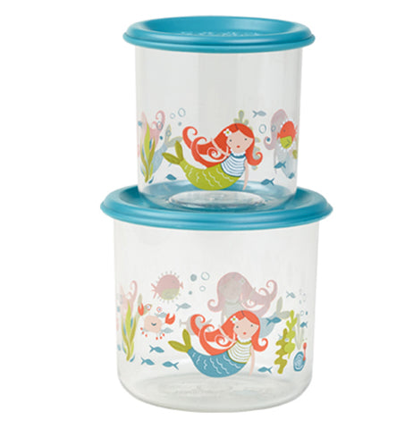 A two size set of semi-clear mermaid themed snack containers