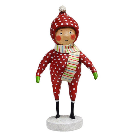This kid figurine is shown dressed in a red snow outfit with white spots.