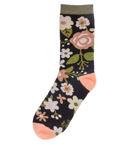Socks, Charcoal Flowers
