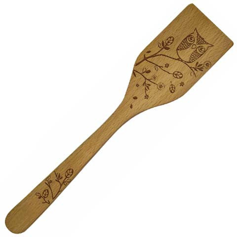 Little Red Hen-Talisman-Solid Beechwood Spatula features an etched owl design.