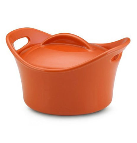 Orange covered soup bowl with handles.