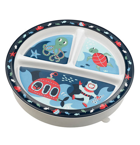 Baby plate with ocean theme on it.
