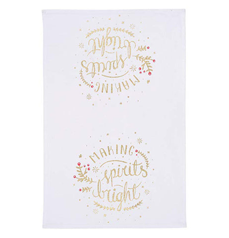 "The Tea Towel ""Spirits Bright"" has a festive gold text with golden holiday sprigs, sparkles, and red berries set against a white fabric."
