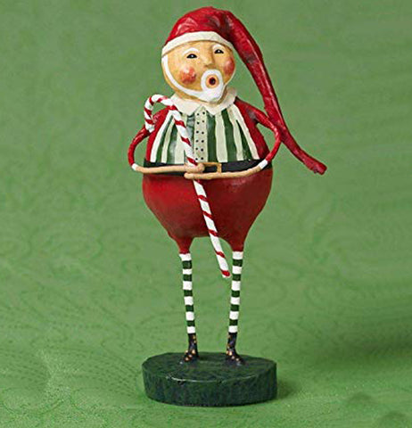 Picture of Old Saint Nick holding a candy cane in a green background.