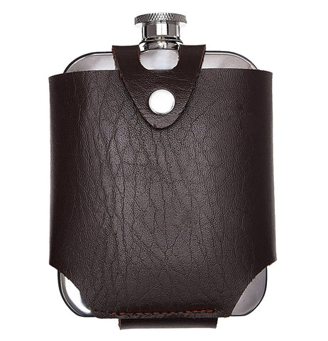 This dark brown leathered flask and traveling case can help save your silver bottle of liquor from getting warm