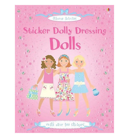 "A ""Sticker Dolly Dressing Dolls"" sticker book featuring three young women in various types of fashion on the cover"