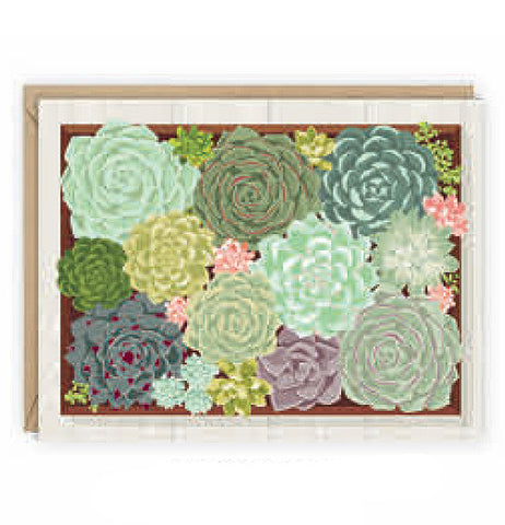 Succulent note cards with many different colored flowers green, blue, purple, turquoise and mint green flowers.