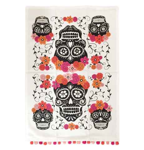 Sugar skull tea towel.