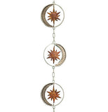 Outdoor hanging chain with silver moons with gold sun closer view.