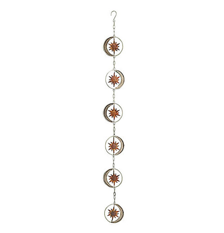 Outdoor hanging chain with silver moons with gold sun.