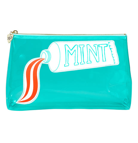 An aquamarine bag with a picture of a toothpaste squirting out toothpaste.