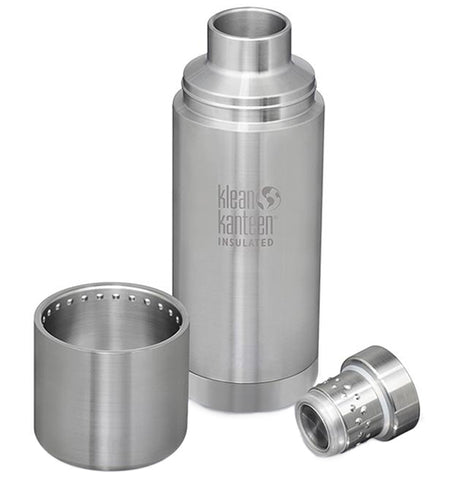 A steel water bottle. The lid is taken apart and is sitting to the left and right.