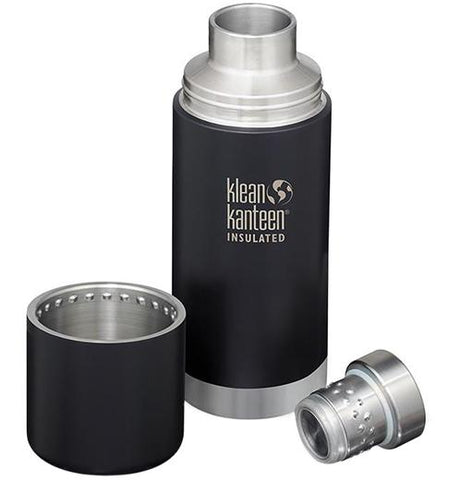 A steel water bottle with a black middle and lid. The lid is taken apart and is sitting to the left and right.