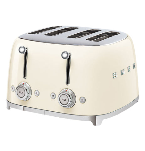 a cream colored toaster with 4 slots on top, on the right side of the word SMEG. the front has 2 sets of sliders and below them are two sets of buttons, one has a snowflake, the other a heat symbol, between each set is a knob that controls the cooking.