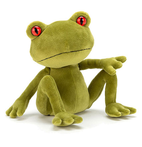 This green tree frog has red eyes and a soft plush body.