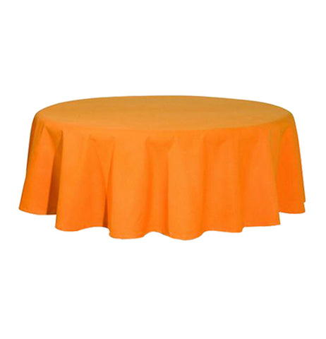 this is an orange round tablecloth