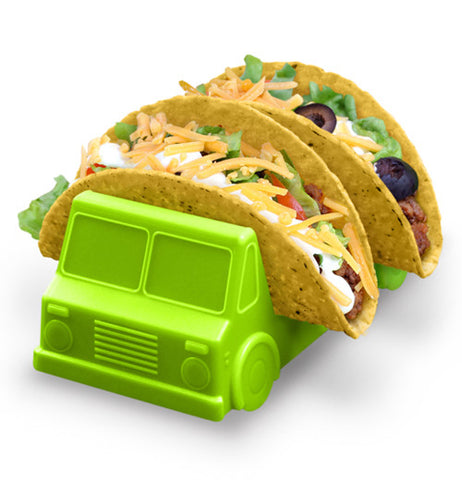 Green taco truck holder shaped like a jeep holding two fully loaded tacos