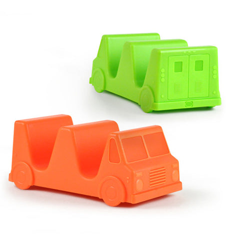 Green and orange taco truck holders shaped like a jeep each with two slots for holding tacos
