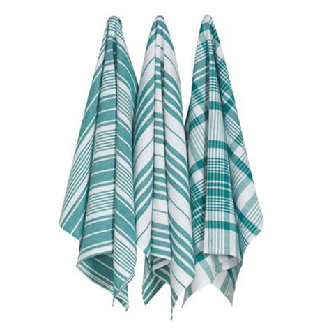 these checkered and striped dish towels are green and white.