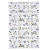 "The ""Sweet Ride"" Tea Towel is decorated with tasteful pattern of vintage style bicycles."