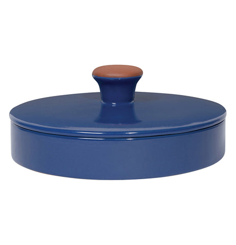 Blue glazed terracotta ceramic tortilla warmer with lid on.