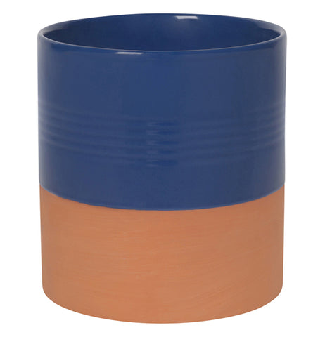 Navy blue glazed and brownish-red terracotta kitchen utensil crock.