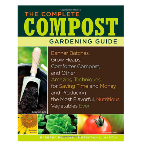 The Book Cover has a picture of compost, a sunflower, basil, and a tomato.