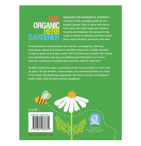 The back of the Organic Herb Gardener book has descriptions and an illustration of a daisy and a bee.