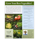 The back cover has pictures of tomatoes, cauliflower, radishes and text describing the content of the book and about the author.