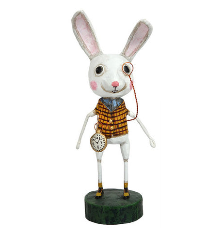 Alice in Wonderland White Rabbit wearing a nice dressy outfit and monocle with a pocket watch on its belt