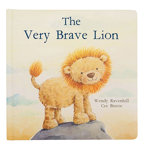 Front cover of The Very Brave Lion being viewed standing up on a hill top.