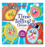 "The front of the ""Time Telling"" Educational Game has the illustration of four different time clocks that teaches you to learn time."