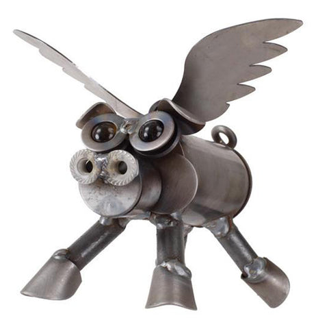 This metal sculpture is of a pig with long narrow wings like a seabird, blue marbles for eyes, and a curly tail.