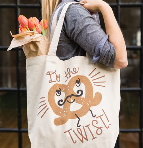 "The lady carrying the ""Do the Twist"" Tote Bag after shopping."