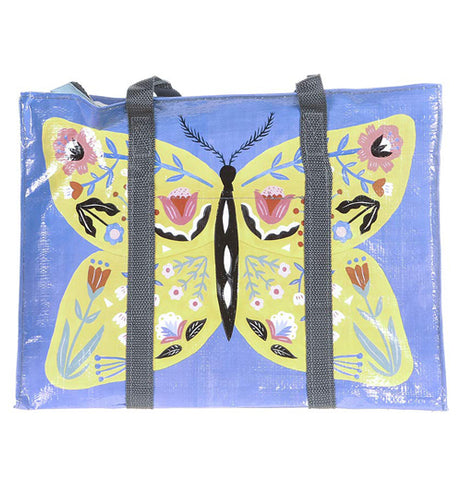 This butterfly shoulder bag has a picture of a yellow butterfly with many colors