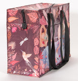 "The side of the ""Flamingo"" Shoulder Tote Bag features a dragonfly and a hummingbird."