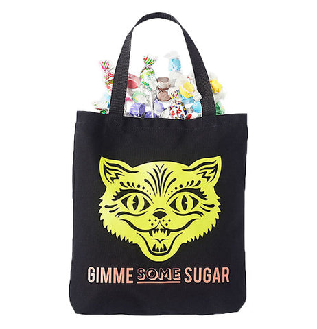 "Black canvas tote bag with a neon yellow cat face. Says ""Gimme some sugar."" Perfect for halloween candy and trick or treaters"