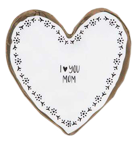 Heart shaped trinket dish with a white background and black print pattern that reads I heart you mom. The heart symbol replaces the word.