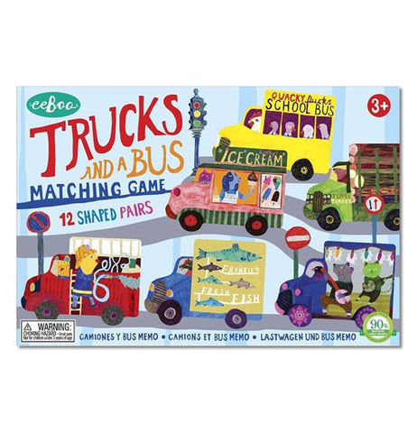 "The new ""Trucks and a Bus"" Matching Game has a cover of five trucks and a school bus on a road scenery."