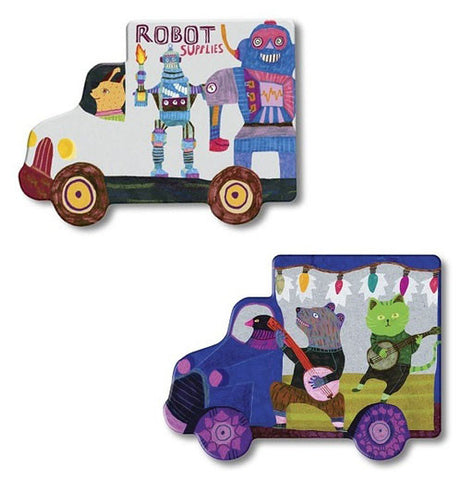 "The two pieces from the ""Trucks and a Bus"" Matching Game has the robot supplies truck and a musical band truck."