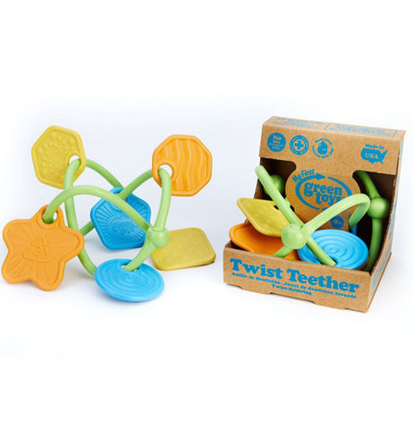 "These are twisted plastic teethers with multi-colored shapes. One teether is shown on its own, while another is shown in its cardboard box packaging. At the bottom of the packaging are the words, ""Twist Teether"" in blue lettering."