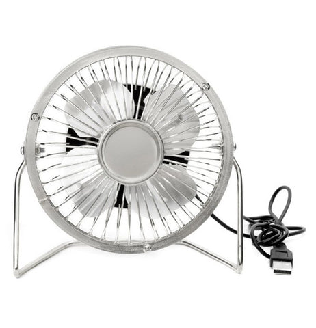 This silver metal fan has a USB port and cable to be plugged into a laptop or desktop computer.