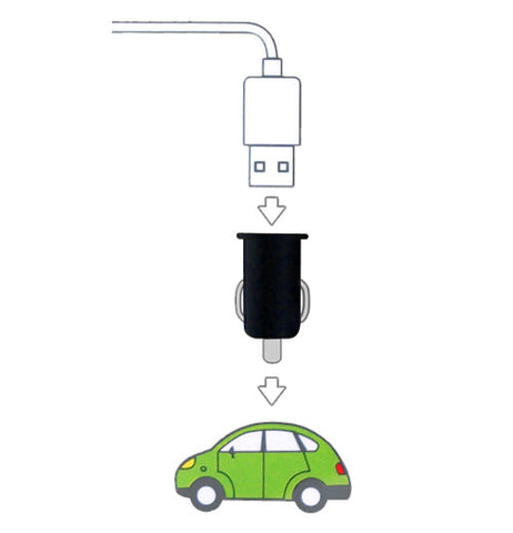 The cylindrical USB drive is shown in black with a white USB cable and a green Volkswagon car.