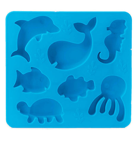 This blue ice tray features different stencil shapes of different ocean animals. The shapes include a dolphin, whale, seahorse, two fish, a jellyfish, and a turtle.
