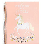 Peach notebook with a unicorn on the front that has a flower necklace on with colorful flowers on the bottom of the notebook.