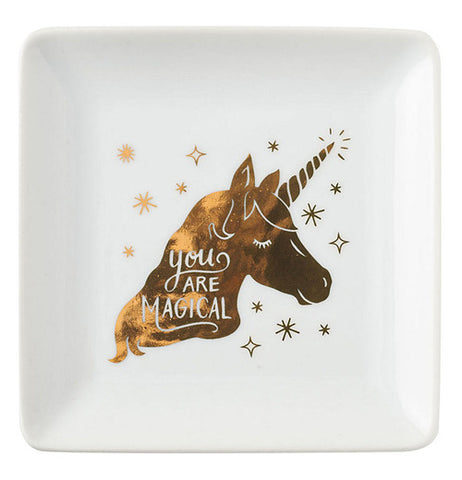 "White bowl with golden unicorn with caption ""you are magical."""