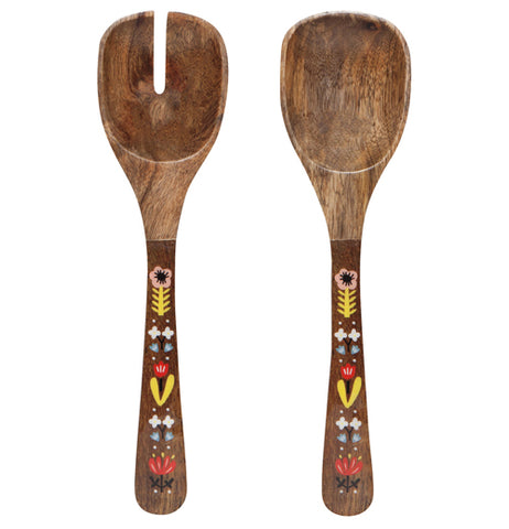 "The Wood ""Frida Mango"" Salad Server features natural brown wood with colorful floral designs."
