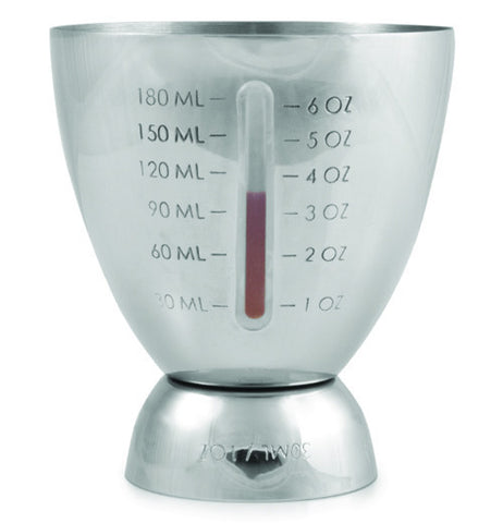 This silver jigger container has a measure of up to 6 oz.