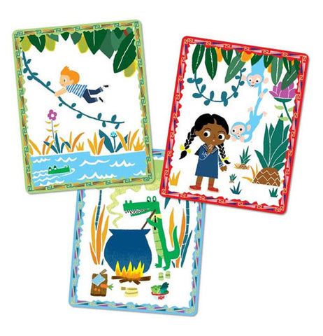 three cards from the game, one has a boy swinging on a vine over water, the second has a girl talking to some blue monkeys who are hanging from a vine with a pineapple next to them, and the last has an alligator stirring a giant caldron over a fire with various foods in front of it
