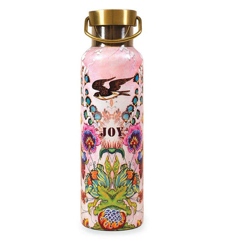 "This ""Floral Joy"" Wander Bottle has a pink background with colorful flowers with a black bird on top of the word that says, ""Joy""."